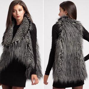 Alice + Olivia Faux Fur Black Gray Flutter Vest S